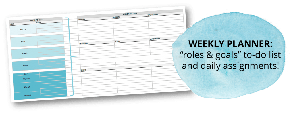 weekly planning planner plan day free printable template layout time management tips personal mission statement roles & goals organization